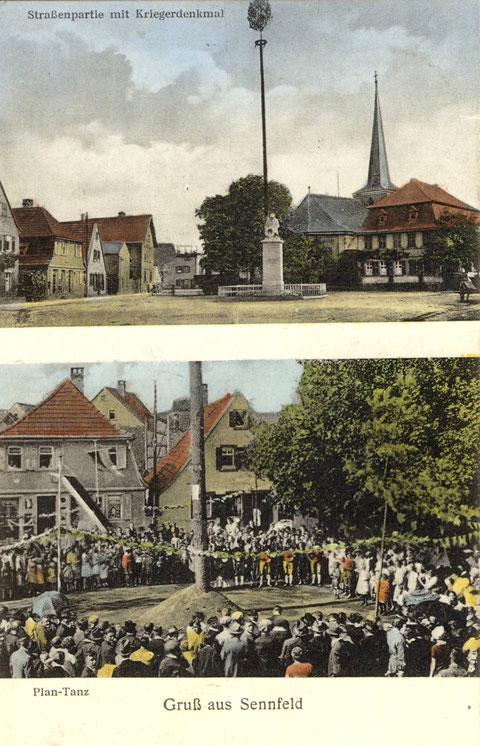 Gruß aus Sennfeld um 1933. Im oberen Bild ist das Kriegerdenkmal für die Gefallenen des 1. Weltkriegs zu sehen. Das Denkmal und sämtliche Gebäude am Plan wurden beim Luftangriff am 31.3.1944 zerstört