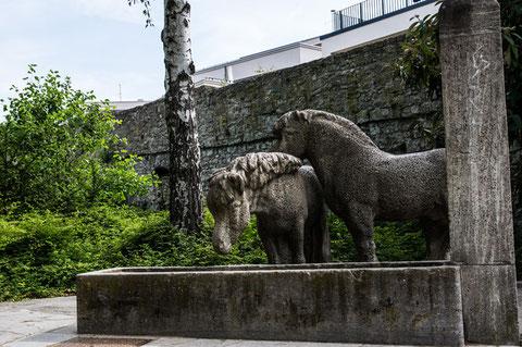 Der Pferdebrunnen an der Stadtmauer im Bereich Neue Hadergasse
