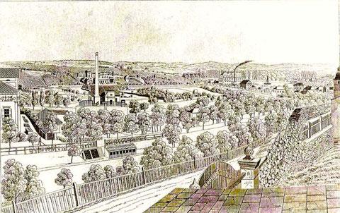 """Blick vom Oberen Wall auf das erste """"Industriegebiet"""" Schweinfurts im Marienbachtal um 1840 - Mittig rechts im Bild sieht man die 1836 gegründete Zuckerfabrik Wüstenfeld, links teilweise die Villa des Dekans Endres"""