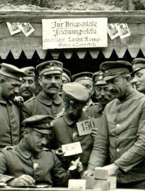 Kriegsanleiheausgabe an der Ostfront; Bat. Schweinfurt