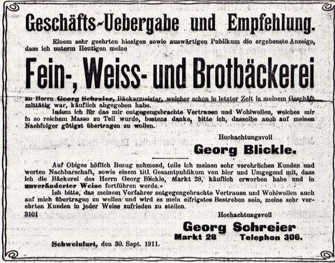 Am 30.November 1911 übergibt Georg Bickel seinen Betrieb an Georg Schreier