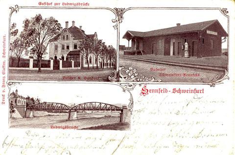 Gasthof zur Ludwigsbrücke um 1905. Heute Discothek W3. Gehört heute zur Gemeinde Sennfeld. Rechts Bahnhof Schweinfurt-Sennfeld (existiert nicht mehr). Unten die alte Ludwigsbrücke. Links davon das Wasserwerk