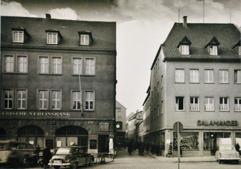 Blick vom Marktplatz in die Keßlergasse in den 1950ern