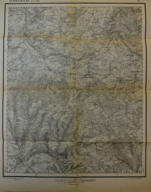 """Bearbeitet in dem topographischen Bureau des [K.]B. General Stabes"""" - """"K"""" [Königlich] getilgt -, """"Revidirt 1883"""", """"Nachträge 1906.12.13.14"""""""