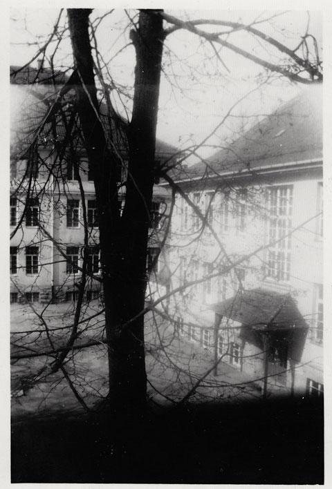 rechts die Friedenschule, links die Ludwigschule mit Teil des Pausenhofs