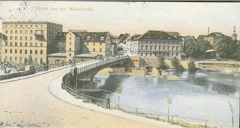 Die Maxbrücke mit Blick auf Schweinfurt  ca. 1907