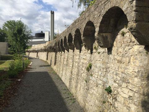 Stadtmauer zum Theaterpark /Hadergasse - im Hintergrund Kunsthalle