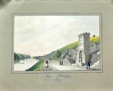 Kornacher Andreas Friedrich Schweinfurt Gouache rechts signiert um 1830 11,5 x 18 cm bzw 20 x 24 cm