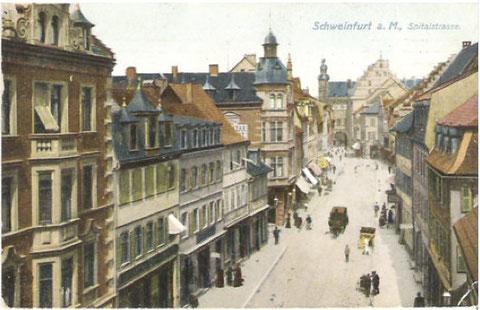 Die Spitalstraße ca. 1911 mit Pferdebahn