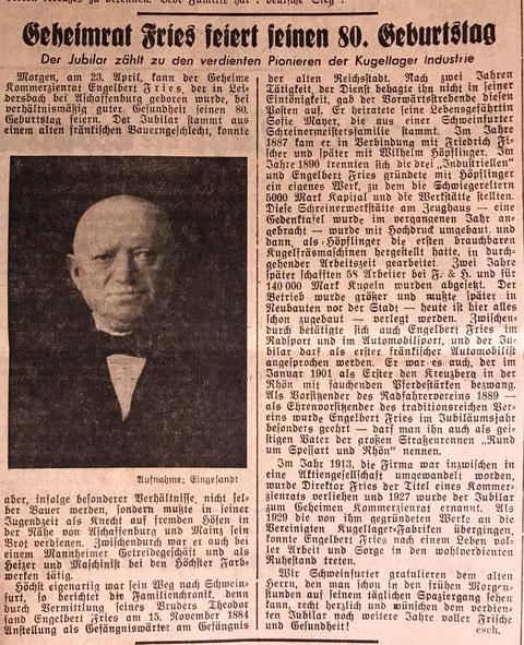 Mainfränkische Rundschau, Ausgabe Schweinfurt 22. April 1941