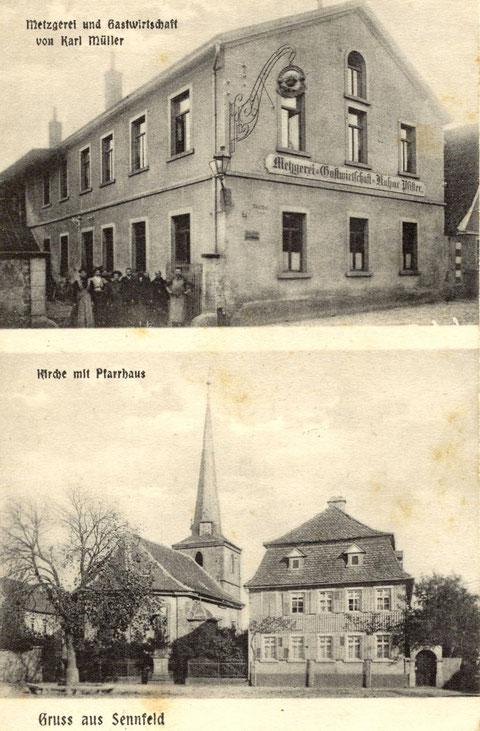Metzgerei und Gastwirtschaft Karl Müller (ehemals K. Pfister) um 1920