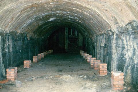 Alter Gewölberkeller, von den mehrere vorhanden waren. Gleichzeitig dienten sie als Luftschutzkeller im Zweiten Weltkrieg