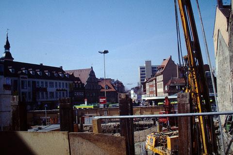 April 1992 - Blick aus der Baustelle (Heute H&M) Foto: Rudolf Steiche