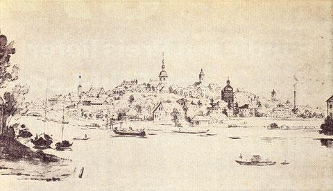 Schweinfurt vom Süden betrachtet - Federzeichnung von K. A. Lebschée, Staatsbibliothek Bamberg