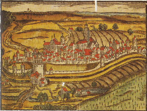 Schweinfurt von Osten 1595 - altkolorierter Holzschnitt - Städt. Sammlungen Schweinfurt