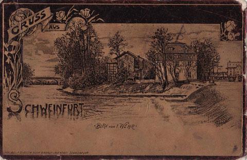 Blick vom 1. Wehr um 1900 - Neujahrskarte