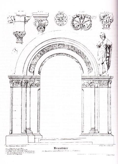 Bitte durch Anklicken vergrößern - Die Brauttüre der Kirche st. Johannis