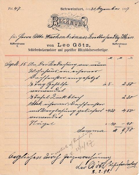 Schieferdeckermeister Leo Götz Rüfferstraße 5 -  31.12.1897