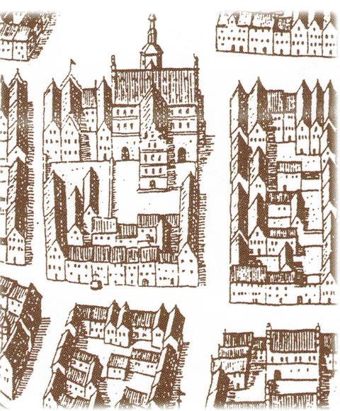 Das Rathausviertel im 17. Jahrhundert (oben schließt sich der Marktplatz an) Dies dürfte jedoch im Detail nicht korrekt sein, was sich aus dem Fehlen der Stadtapotheke ergibt)
