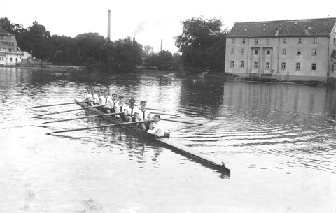 1913 - im Hintergrund Schornsteine der Gademann'schen Fabrik/Bleiweißmühle