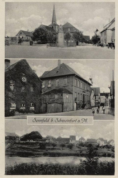 Um 1940. Oben die Kirche mit Denkmal für die gefallenen des 1. Weltkrieges (1926 errichtet, 1944 zerstört). In der Mitte Gasthaus zur Traube. Unten der Badeplatz am Sennfelder See.