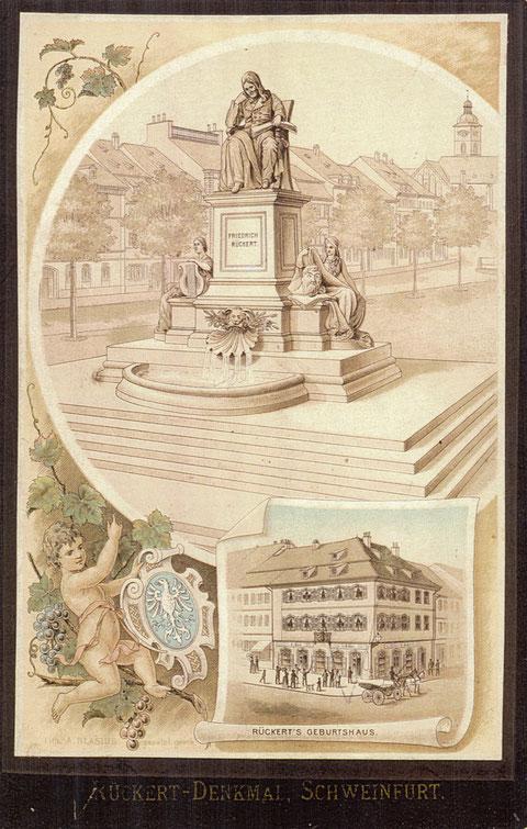 Postkarte Ende 19. Jahrhundert . Rückertdenkmal mit Rückert's Geburtshaus - Danke an Jürgen Häckner