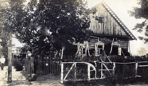 """Kgl.Bayr.Schweinfurter Bataillon im August 1917 in Russland """"Dolginowo"""" - Wohnung des Hauptmanns Heinberger(?) und des Rittmeisters Huber"""