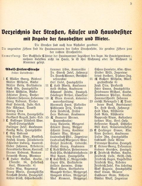 Anmerkung: Adolf-Hitler-Straße ist heute die Spitalstraße