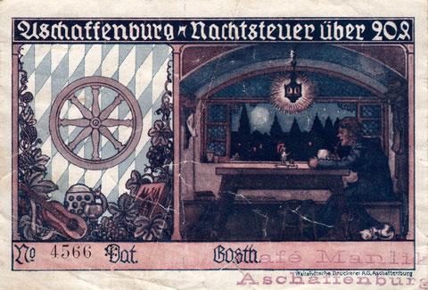Aschaffenburg - Cafe Manlik - Nachtsteuer 20 Pfennige