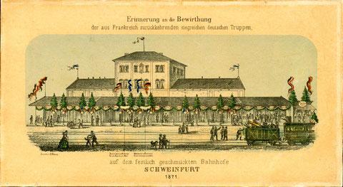 """Rückkehr der """"siegreichen Truppen"""" in Schweinfurt am Stadtbahnhof 1871"""