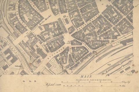 Katasterplan 1907 - ungeklärt ist, warum hier noch Steinweg statt Schultesstraße eingetragen ist, obwohl die Straße 1992 umbenannt wurde. Justizgebäude und Heilig-Geist-Kirche sind schon eingezeichnet