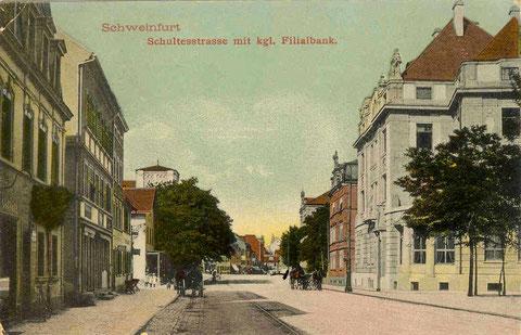 Schultesstraße ca. 1902 (Hl.-Geist-Kirche noch mit kurzem Turm)