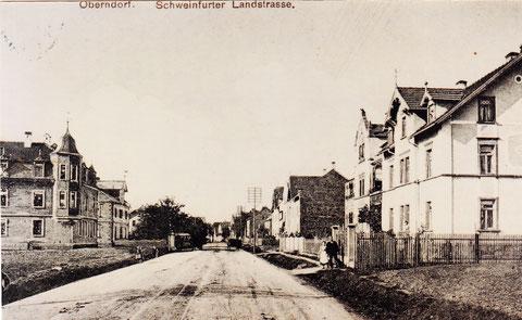 Ernst-Sachs-Straße (damals Schweinfurter Landstraße) von der Fa. Star aus gesehen (vor 1930) rechts das Haus von Friedrich Pfister