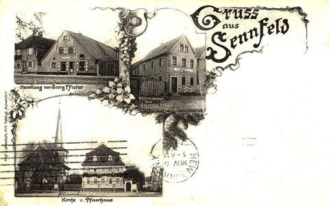 Handlung von Georg Pfister, später Sofie Schuhmann. Restaurant zum Goldenen Faß. Um 1903