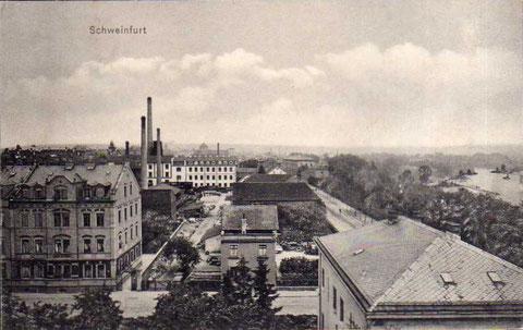 ca. 1910 (rechts entlang des Mains verlaufend)
