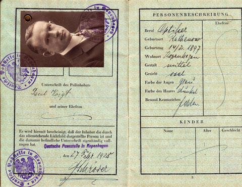 Reisepass vom 27. Februar 1928 - Paul Voigt lernte auch viel im Ausland, vor allem in Dänemark, wohin er bis 1937 immer wieder reiste