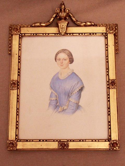 Ehefrau Maria Katharina Schneider, geb. Blecken, Patenkind von Katharina Sattler, gemalt von Christian Adam Stößel (1810 - 1863), Schweinfurt, 1849