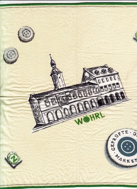Taschentuch des Modehauses Wöhrl am Roßmarkt/Bauschenturm