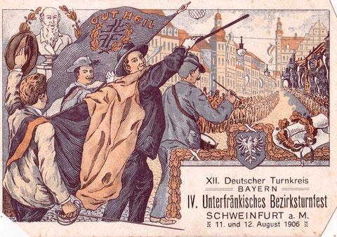 Am 11. und 12. August 1906 fand in Schweinfurt das Unterfränkische Bezirksturnfest statt