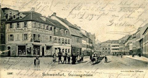 vor 1900 - damals Steinweg - Blick Richtung heutigem Albrecht-Dürer-Platz, aufgenommen von der Straße vor der Hl. Geist-Kirche aus