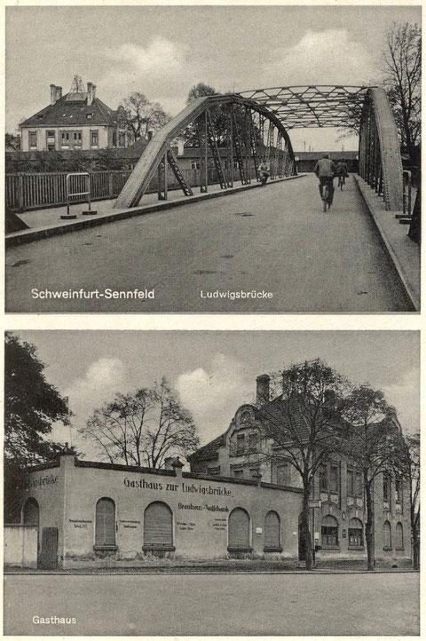 Die erste Ludwigsbrücke und die Gaststätte um 1940. Für die Sennfelder Jugend war es damals ein Wagnis, über die Brückenbögen zu laufen