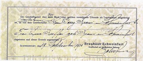 Dieser Anteilschein wurde am 19. September 1930 auf Frau Lina Kuffer, geb. Kraus übertragen