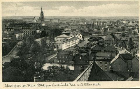 Blick von der Heilig-Geist-Kirche auf die Kilianskirche in den 1930ern