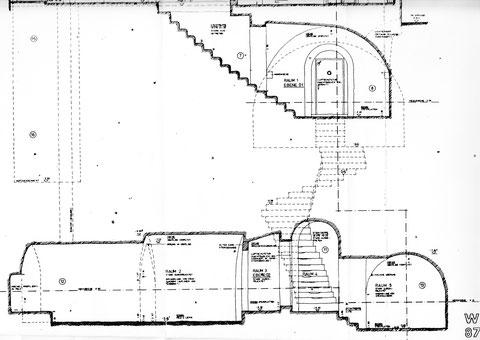Bestandsplan für das Untergeschoss - der Weg in die Kellergewölbe - bitte vergrößern