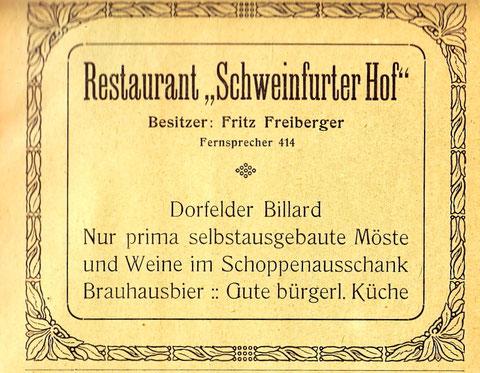 Reklame aus dem Jahr 1921