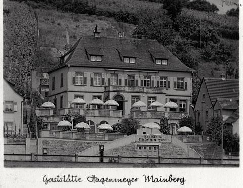 Brauereigaststätte Hagenmeyer Mainberg - die Brauerei Hagenmeyer ließ dieses Haus im Jahre 1928 erbauen. 1961 wurde es verkauft an SKF und diente italienischen Gastarbeitern als Unterkunft. 1985 wurde dort kurze Zeit die Gaststätte Wildente bewirtschaftet