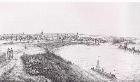 Schweinfurt von Oberndorf aus gesehen um 1832/1833 Federlithographie von Conrad Rimrod (Städt. Sammlungen Schweinfurt)