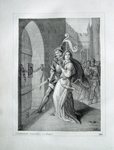 """""""Herzog Brzetislaw von Böhmen raubt seine Braut, die Grafentochter Judith"""" originale Kreide-Lithographie über Tonplatte nach einer Zeichnung von Peter Johann Nepomuk Geiger (1805 in Wien - 1880)"""