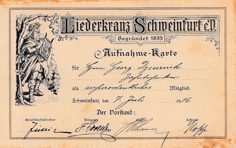 Aufnahmeschein 1916 - Danke an Klaus Hoffmann