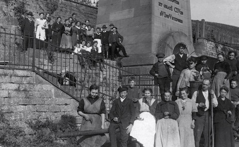 """1923 - Weinlese an der Mainleite beim Ludwigsbrunnen - Weinberg des Hotels """"Deutsches Haus"""" - Danke an Frau Maria Klein aus Würzburg"""